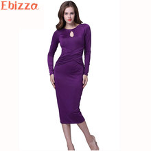 Ebizza Vintage Elegant Long Sleeve Ice Silk Pencil Dress Bodycon O Neck Cross Belt Noble Purple Mid-Calf Party Night Vestidos(China)