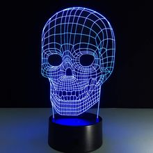 Luminarias Night Light 3D Lamp Skull 3D Lights Children's nightlight Visual Led Night Lights Illusion Mood Lamp(China)