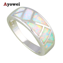 Gifts for Valentine's Day Simple Style High Quality White Fire Opal Silver Stamped Rings USA Size #6#7#8#9#10 OR831A