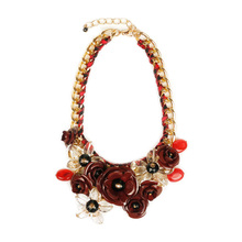 2016 New Design Acrylic Flower Charms Channel Choker Necklace Women Crystal Jewelry Statement Necklaces Drop Shipping YZ001-5