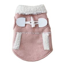 Button Fashion Warm Dog Coat Dogs Winter Hat Coats Jackets Pet Clothes Supplies(China)