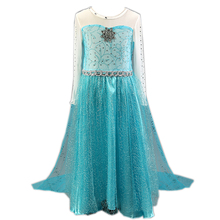 Hot Costume Elsa Anna Kids Halloween Cosplay Dress For Baby Girl Kids Vestidos Clothes Children Girls Elza Princess Long Dresses(China)