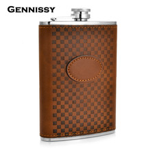 GENNISSY 9 oz Alcohol Flask Brown Grid Pattern PU Leather Stainless Steel Mini Hip Flask Camp Outdoor Portable Hip Flask