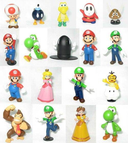 5sets/lot (90pcs) Super Mario Bros Toys Model Action Figure 18pcs/set Pvc Figurine 3.5-7cm Height<br><br>Aliexpress