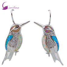 Love Gift bird Blue Pink White Opal earrings 925 Sterling Silver earrings for woman bijouterie E200(China)