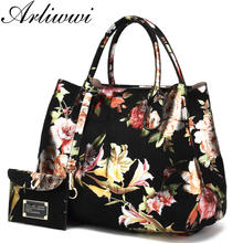 Arliwwi Brand Luxury Shiny Rainbow Color Floral Designer Tote Bags For Women High Quality PU Leather Female Handbags(China)