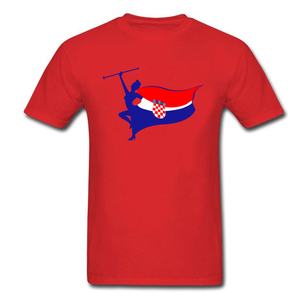 Pure Cotton Men Short Sleeve Croatia logo T Shirt Customized Tops Tees Slim Fit Geek Crew Neck Tee Shirts Top Quality Croatia logo red