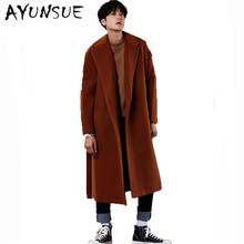 X-Long Mens Wool Coat Men Cashmere Overcoat Turn-down Collar Belt Men's Winter Jacket Men Brand-Clothing Black Mens Coat WUJ1187
