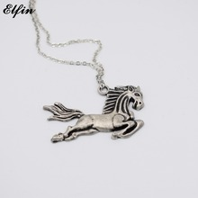Elfin 2017 Trendy Vintage Running Horse Necklace Animal Jewellery Big Horse Pendant Necklace Women Men Best Gift