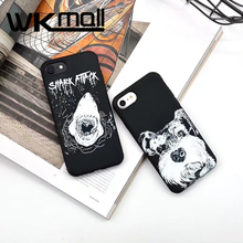Fashion Art sketch shark mouth Case For iphone 7 Case cute dog Silicone Soft Case For iphone 6S 6 7Plus Fundas  Back Cover Capa
