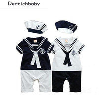 Retail New fashion Summer Newborn navy style baby romper suit kids boys girls rompers+hat body summer short-sleeve sailor suit(China)