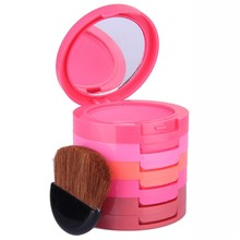 Pro 5 Color Face Blusher Palette Beauty Red Blush Pressed Powder Makeup Baked Mineral Cream Blusher Brush Cosmetic Set