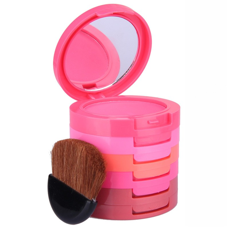 Pro 5 Color Face Blusher Palette Beauty Red Blush Pressed Powder Makeup Baked Mineral Cream Blusher Brush Cosmetic Set(China (Mainland))