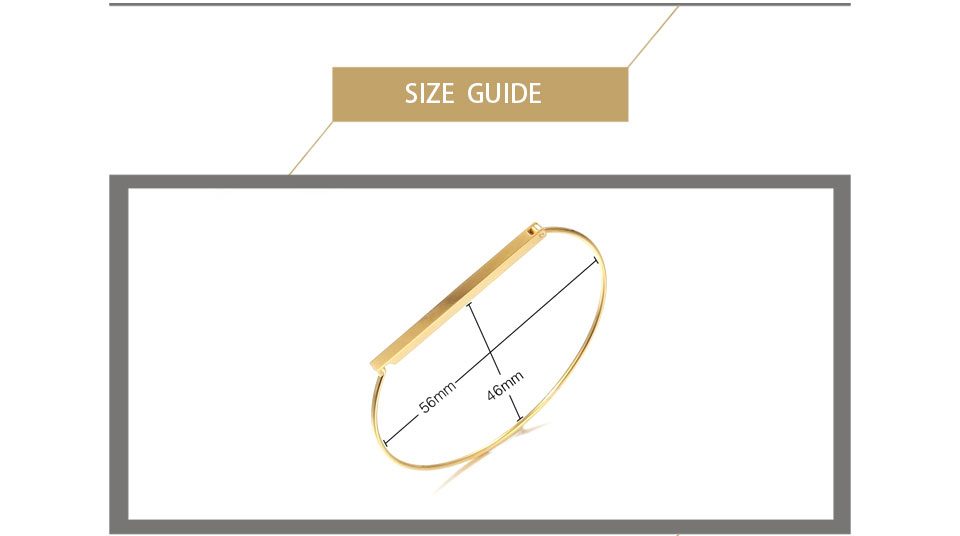 Enfashion Personalized Custom Engrave Name Flat Bar Cuff Bracelet Gold color Bangle Bracelet For Women Bracelets Bangles