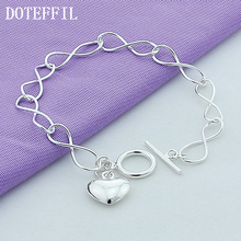 Fashion Simple Silver Peach Heart Bracelet 925 Fine Silver Plated Bracelet Women Free Shipping(China)