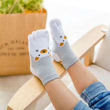 Bonjean Cute Cartoon Bear Five Toes Socks Kids Socks Girl Boy Children Hosiery Five Fingers Socks(China)