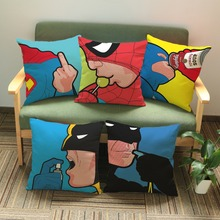 45*45cm American Pop Style Super Heros Cushion Batman Superman Spider man pillowcase Sofa Chair Linen Pillow Cojines(China)
