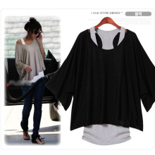 Euro Fashion Loose Casual Short Sleeve T-Shirts Women's Batwing Sleeve Tops ( Tank + T shirt)  0340