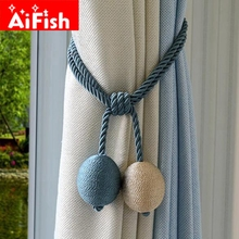 Eco-friendly Hand Made Curtain Straps Simple Curtains Hanging Ball For Curtains Hook Curtain Accessories Tied Rope DF092-40(China)