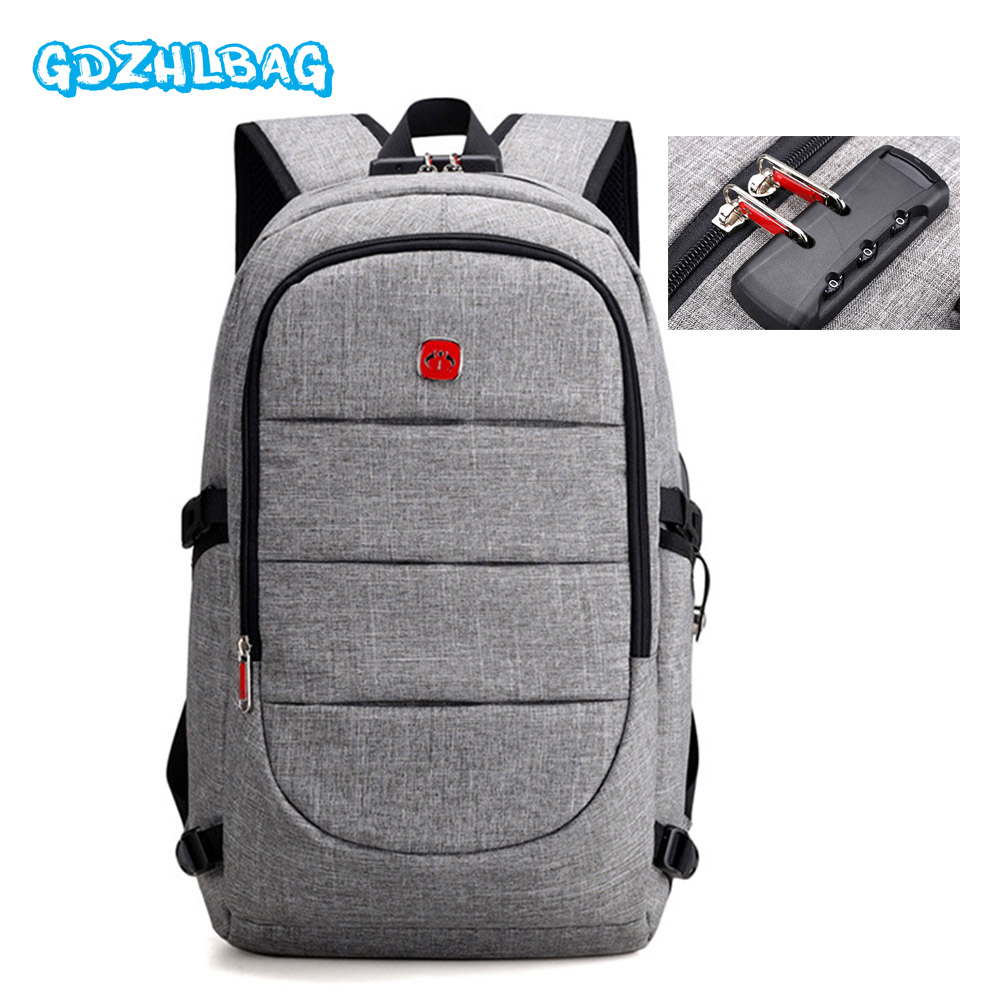 Anti-theft Backpack USB Password lock Charging Men Laptop Backpacks For Teenagers Male Waterproof Travel Backpack School Bag<br>