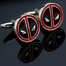 MMS Superhero Movie Deadpool Black With Red Enamel Cufflinks For Mens Cuff Buttons High Quality Cuff Links Souvenir