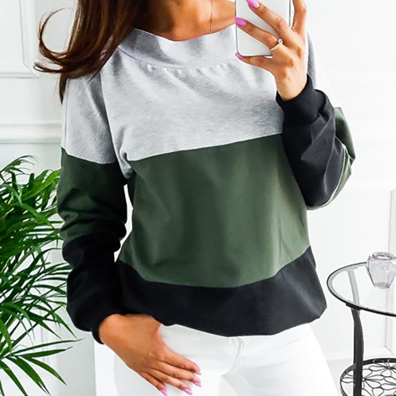 Sweatshirt, Women's Sweatshirt Patchwork Pullover 21