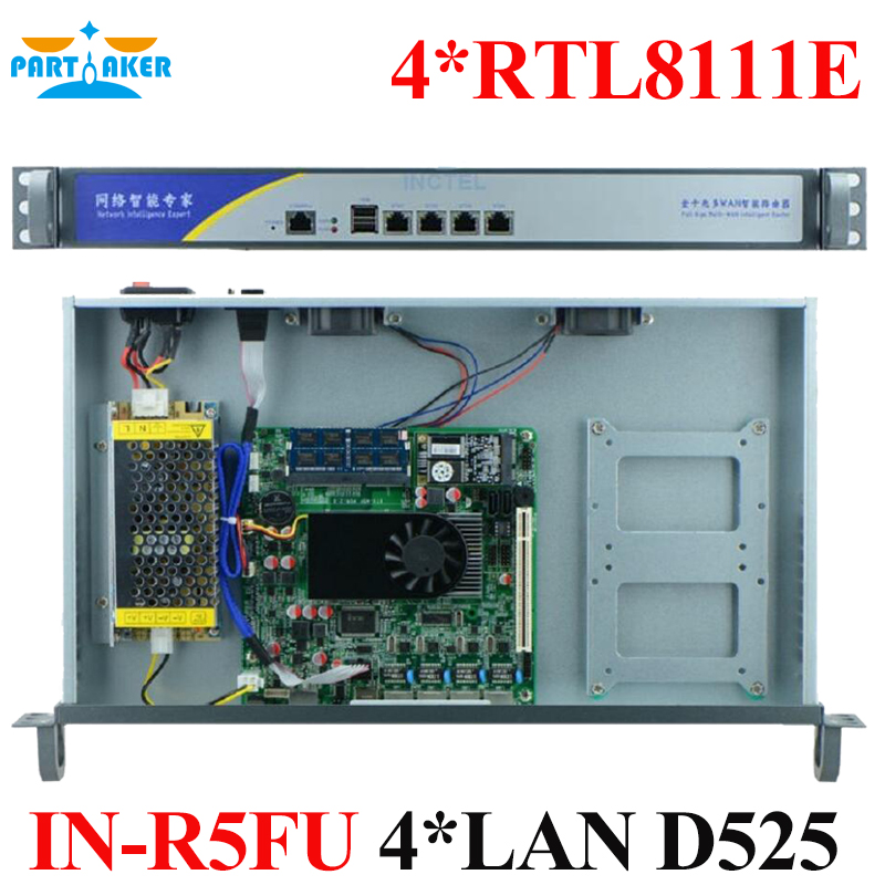 Factory price Routerboard 1U D525 4*Lan Router Intel server rack case Network Firewall Router Pfsense OEM(China)