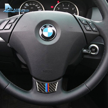 Airspeed Carbon Fiber Car Steering Wheel Stickers Emblem for BMW E60 E61 2004-2010 Decorations 5 Series Accessories Car Styling(China)