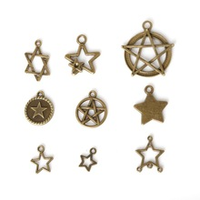 Different Size 40-330pcs/bag Zinc Alloy Antique Bronze Plated Cute Five-pointed star Charm Pendants For DIY Jewelry Finding(China)