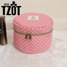 Fabric Cosmetic Bag Dot Underwear Storage Zipper Makeup Organizer Round Basket Multifunction Travel Toiletry Medicine Bag -FF(China)