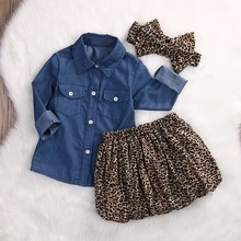 2017 Fashion Baby Girls 3Pcs Cute shirt And Leopard Dress And headband Kids Clothes Outfit 0-5Y