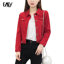 Denim Jacket Women Short Jeans Overcoat Ladies Jackets Tops Turn Down Collar Slim Red White Light Green Jeans Top For Women S-XL