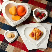 4 piece set Heart shaped Large bone china ceramic soup noodlerice bowl embossed lace steak plate dinner set for lover