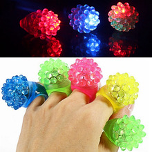 TAOS 20 pcs LED Flashing Bumpy Jelly Rings Light up Toy Ring for Halloween Bar KTV Dances Party Raves Costumes Random Colors(China)