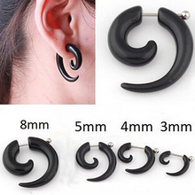 Fashion Unisex Spiral Fake Ear Plug Flesh Plugs Ear Piercing Body Jewelry Earrings