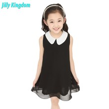 New 2017 Summer Girls Pleated Chiffon One-Piece Dress With Paillette Collar Children Colthes For Kids Baby 6colors