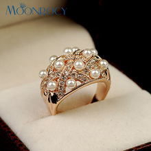 MOONROCY Free Shipping Female Trendy Fashion Crystal Rings Rose Gold Color Jewelry Imitation Pearl Wedding Ring Gift For Women(China)
