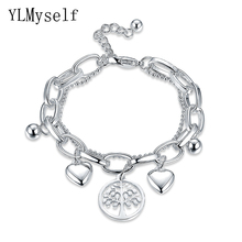 YLMyself New arrival Stainless Steel charms Bracelet Wishing Tree Pattern heart DIY pendants Bracelets & Bangle for women(China)