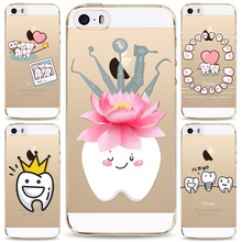 Unique Design Cute Lovely Wisdom Teeth Dentist Tooth Love Phone Cases For iPhone 5 5s SE Transparent Clear Silicone Cover Coque