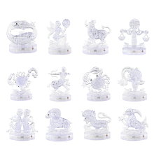 Children Birthday Gift 3D Crystal Zodiac Signs Flashing LED Light Kids Jigsaw Puzzle Model Toy 3D Horoscope Puzzle Toys(China)