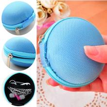 Practical Canvas Portable Coin Key Purse Small Round Bag Earphone Case SD/ TF Cards Bag Carrying Case Bag Blue/ Pink/ Rose red