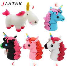JASTER Cartoon Cute Unicorn USB Flash Drive Pen Drive 8GB 16GB 32GB Black Horse USB Stick External Memory Storage Pen Drive
