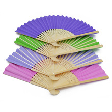 1Pc 21cm Summer Chinese Hand Paper Fans Pocket Folding Bamboo Fan Wedding Event Decoration Birthday Party Favor Supplies(China)