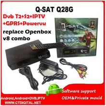 qsat q28g decoder DVB-S2+dvb-t2 receiver vs v8 combo support LAN port iptv gprs powervu wifi 3g decodificador tv digital(China)