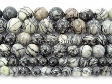 Natural Spider Web Ja-sper Gems Stones Round Spacer Loose Beads 15.5'' Strand for Jewelry Making Crafts 5 Strands/Pack(China)