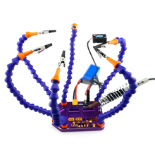 Six Arm Soldering Integrated Base with Banana XT60 XT30 T Plug Hole and USB 5V Output RC Tool RC Toys Part(China)