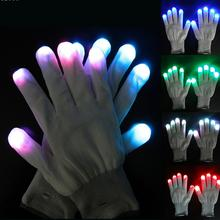 1 Pair Colorful LED Gloves Rave Light Finger Lighting Flashing Festive Event Party Supplies Luminous Glove #15