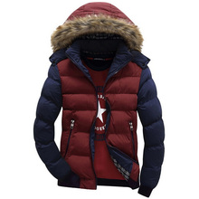 Hooded Design Men Parka Casual & Fit Men's Winter Coat Stand Collar Thick Jacket Solid Color Plus size M-3XL