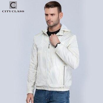 City Class hommes coupe-vent d'été printemps marque qualité vestes et bombardiers pour mâle occasionnel pur couleur à capuchon ligh blanc 13115