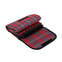 Outdoor Beach Picnic Folding Camping Mat Multiplayer Waterproof Sleeping Camping Pad Mat Moistureproof Black plaid Blanket(China)